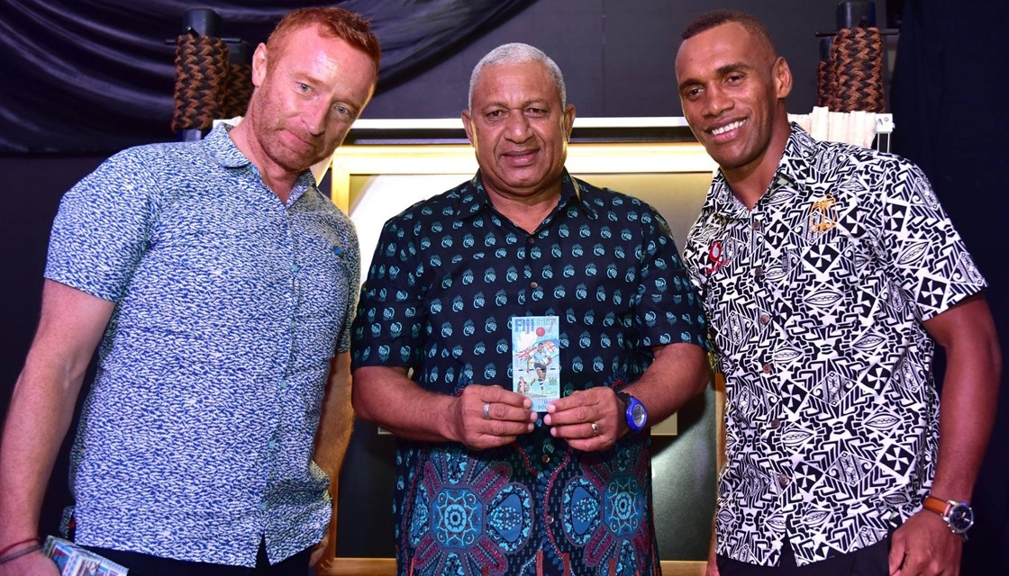 Ben Ryan, Fiji PM Frank Bainimarama and sevens captain Osea Kolinisau (Fiji Government / Facebook)